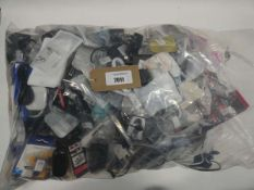 Bag containing quantity of mobile phone accessories; cables, adapters, earphones, stands, etc