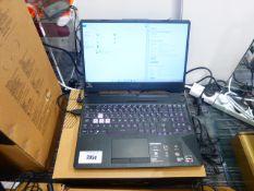 Asus Tuf A15 gaming laptop. AMD Ryzen 7 CPU, 16GB RAM, 512GB storage. GTX 1660TI graphics. Windows