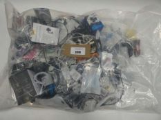 Bag containing quantity of mobile phone accessories; adapters, leads, headphones, stands etc