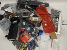 Bag containing quantity of electrical related accessories and spares; keyboards, earphones, mobile
