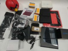 Bag containing Gear4 Angry Birds speaker, Evoluent mouse, HP 2013 Slim docking station, tablet