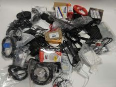 Bag containing quantity of cables, leads, adapters and PSUs
