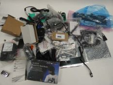 Bag containing spares/boards for PC & laptop, hands free music beanie, adapters, cables etc