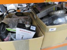 2 boxes of mixed kitchenware including a towel holder, oven gloves, etc