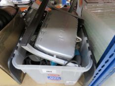 Box containing mixed kitchenware including Tefal grill and other kitchen appliances