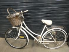 Raleigh Caprice white ladies bike with basket