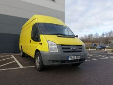 2010 Ford Transit Panel Van in yellow, 2402cc, key and V5 present, first registered 26,11,2010, 3