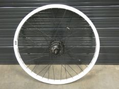 White bike rear wheel