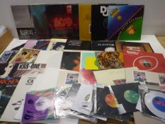 Selection of LP & 45 rpm records including ACDC, Diana Ross & The Supremes, Snoopdogg, The Beatles