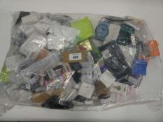 Bag containing quantity of mobile phone accessories; cables, leads, adapters, cases, earphones, etc