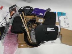 Bag containing routers, stands, cables, adapters, headset, drumsticks, boards etc