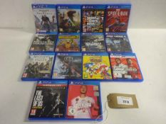 Bag containing 14 various titled PS4 games