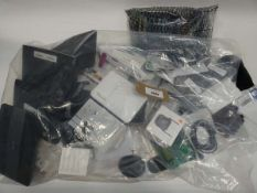 Bag containing quantity of leads, cables and PSUs