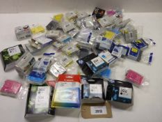 Bag containing HP, Canon and other various printer ink cartridges