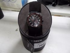 Citizen Ecodrive gents black rubberised wristwatch with box