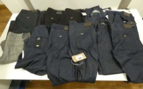 Bag containing 12 pairs of Armani jeans and trousers of various sizes and colours