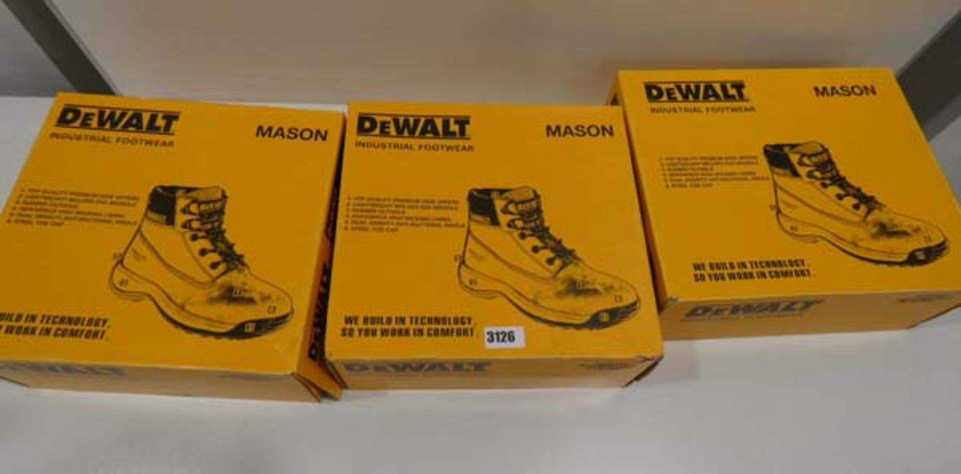 3 Pairs of DeWalt mason industrial steel top capped boots in sizes 11, 8 & 7