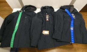 3 navy blue watherproof hooded jackets in sizes XL, L and M