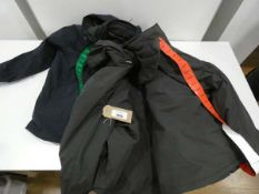 3 mens Weatherproof jackets, 2 black and 1 blue, sizes M, XL and L