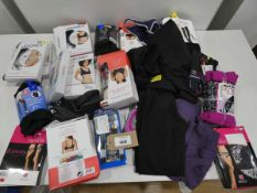 Bag of ladies sports bras, briefs and leggings in various sizes and colours to include Jockey