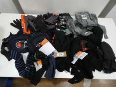 Bag including mens socks, gloves, wallet, man bags, etc in black and grey