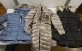 3 Andrew Marc quilted jackets in black, blue and silver, 2 size M, 1 size XL