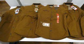 4 Jachs stretch canvas shirt jackets in brown, 2 size M, 1 XL, 1 L