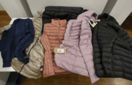 Bag of mixed ladies and mens hooded coats and gilets in various colours and sizes, brands to include