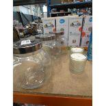 3026 - 3 Mason Kilner tilted jars with 2 candles