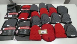 Bag of grey and red oven gloves