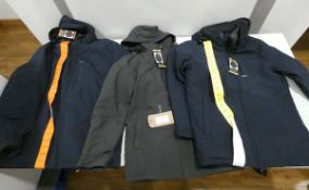 3 hooded waterproof jackets, 2 in blue and 1 in dark grey, sizes S, S, and XXL
