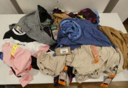 Bag of ladies mixed clothing including dresses, tops and shorts in various sizes and colours to