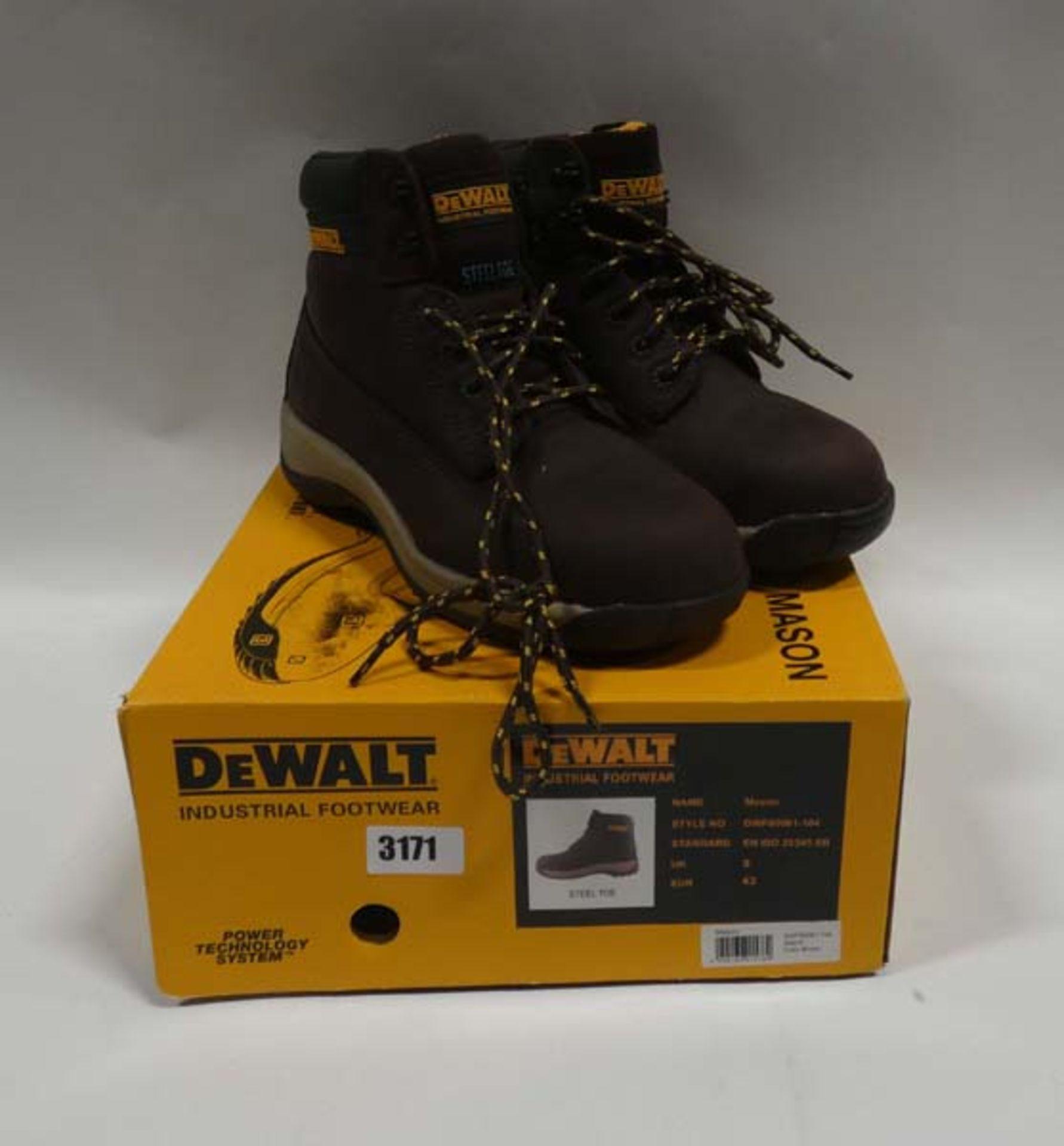 Pair of DeWalt industrial boots in dark brown with steel toe protectors