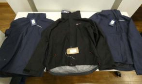 3 Berghaus jackets, 2 in dark blue and 1 in black, all size M