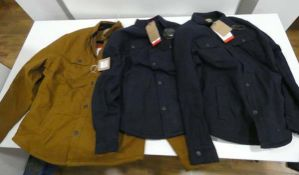 3 stretch canvas shirt jackets, 2 in blue, 1 in brown, all size M