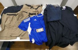 Large bag of mixed mens clothing including Adidas sports top, Jerry shorts, Superdry tracksuit