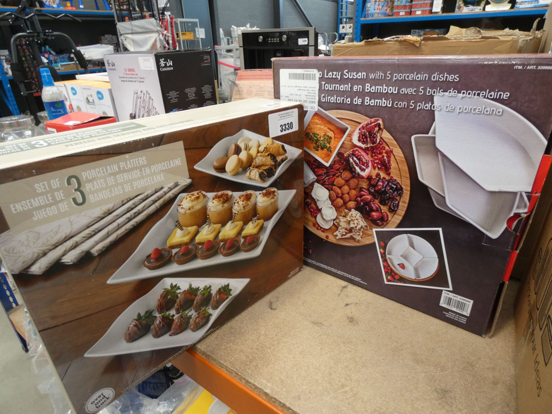 Polystyrene platter plus a lazy Susan dish set