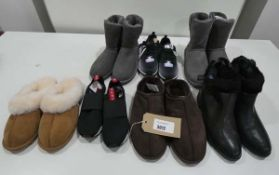 Bag of mixed footwear including trainers, ankle boots, slippers and Ugg boots in various sizes and
