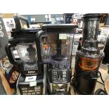 3094 - 2 Ninja blenders with assorted attachments and a Fridja juicer