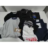 Bag containing men's tops, trousers, shorts, including Greg Norman and Levis in various sizes and
