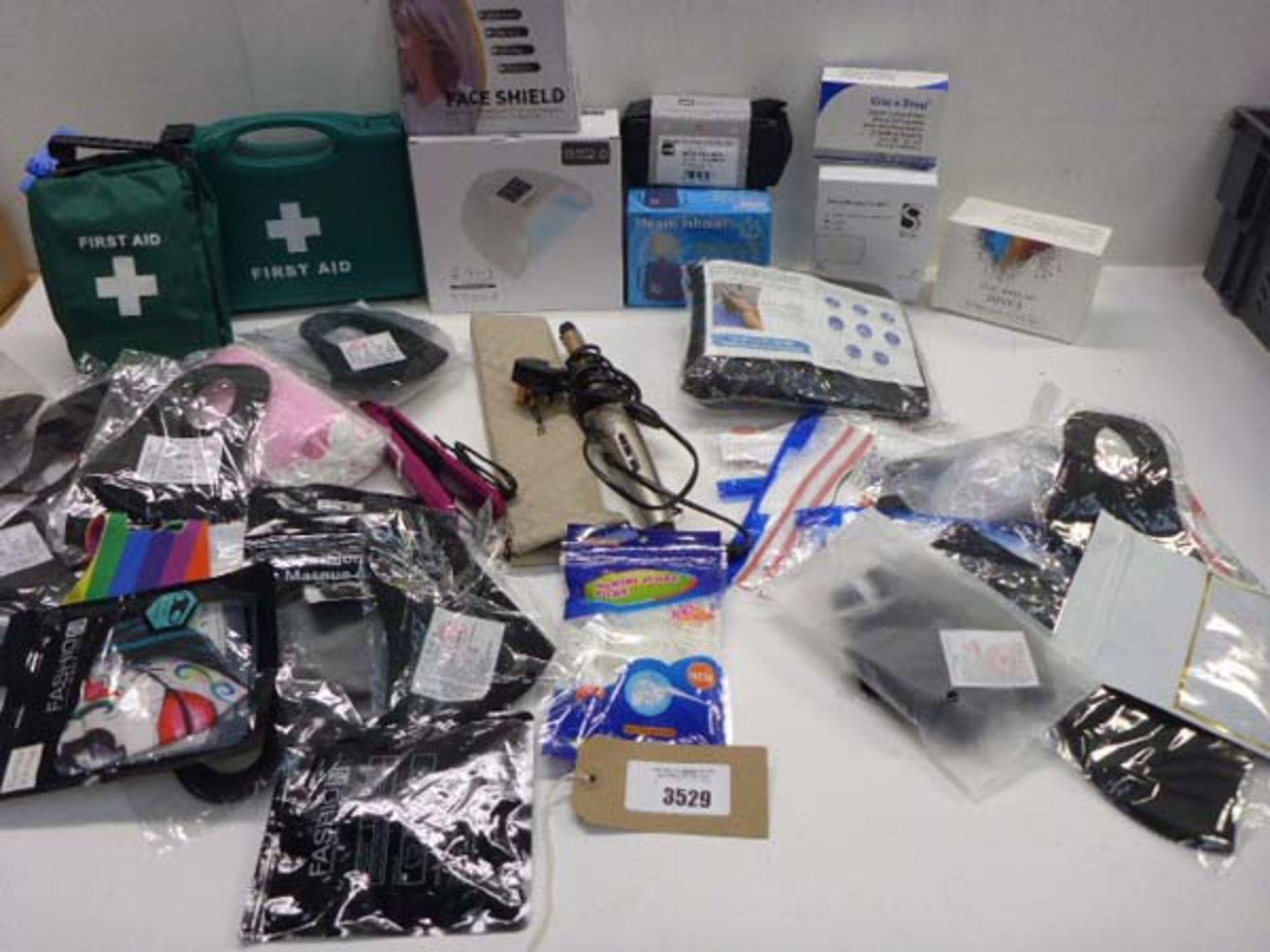 First Aid kits, Nail lamp. Steam inhaler, neck hammock, Remington hair styler, Electronic