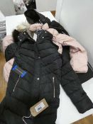 3 ladies coats by Andrew Marc, Harvey Jones and DKNY, 2 black and 1 salmon pink, in various sizes