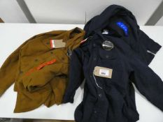3 Jachs stretch canvas shirt jackets, 2 in blue and 1 in brown, sizes 2 M and 1 L