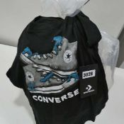 Bag of childrens t-shirts, mainly Converse in grey, blue and black