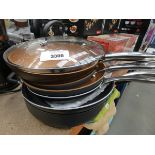 Assorted used frying pans