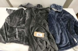 Bag of 3 unisex robes in grey and blue
