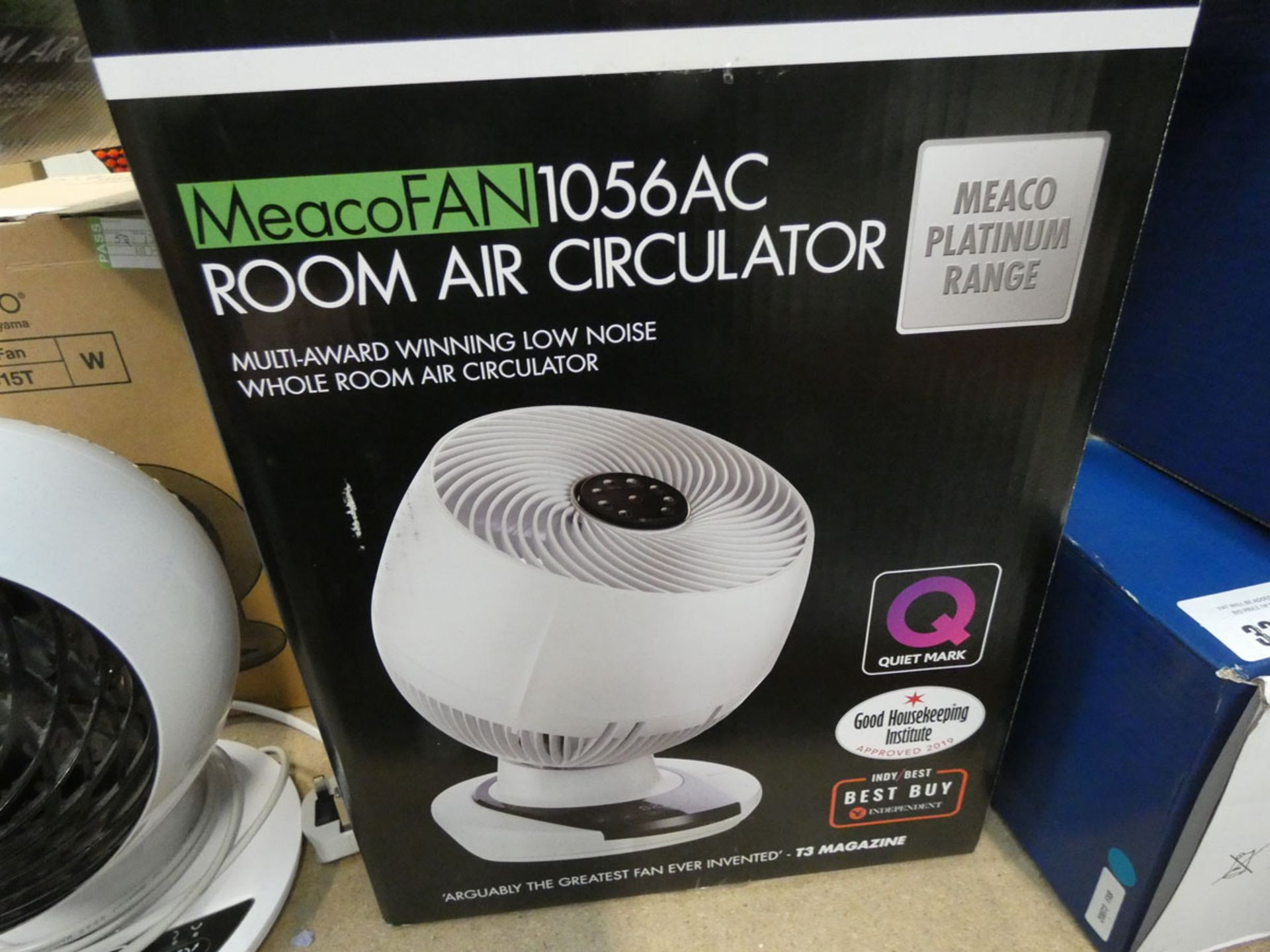 Boxed air room circulator fan with remote and manual