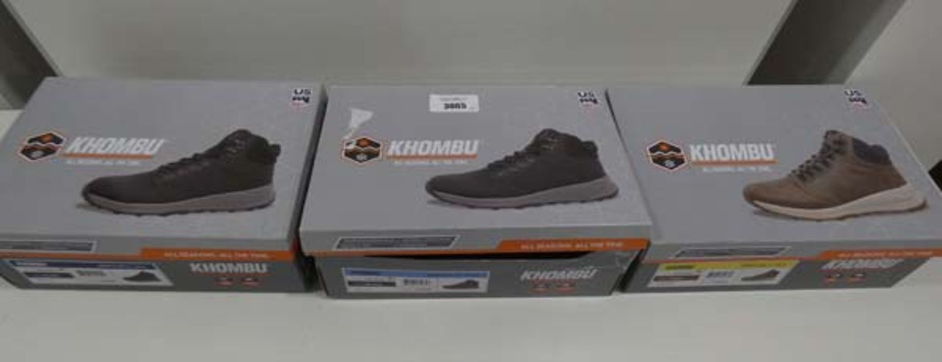 3 pairs of mens Khombu boots sizes 7, 8 and 12, in black and brown