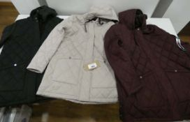 3 Weatherproof ladies raincoats in maroon, fawn and black, 2 size M and 1 size XL