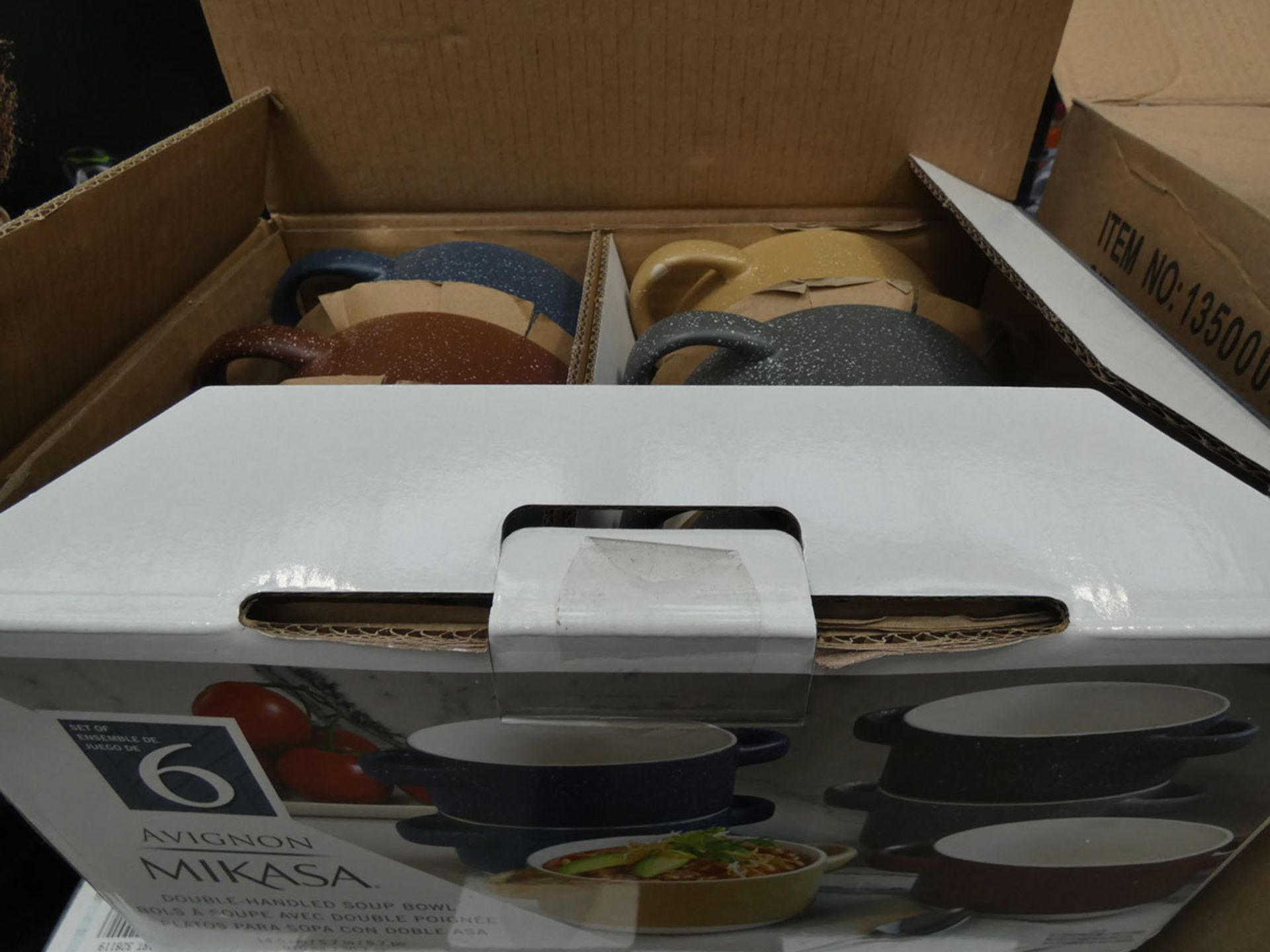 Boxed Mikasa double handed soup bowls